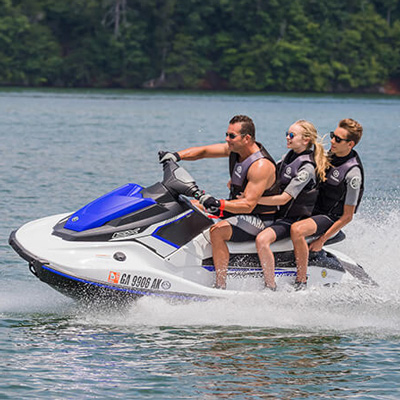 YAMAHA<sup>&reg;</sup>  EX Rec Lite - Shorter in length, lighter in weight, the EX Rec Lite is designed for fun.  Seating 1 - 3 persons, this personal watercraft features a 3-cyclinder, 4-stroke TR-1 Yamaha marine engine, 13.2 gallon fuel capacity, more storage options and measures 10' 3